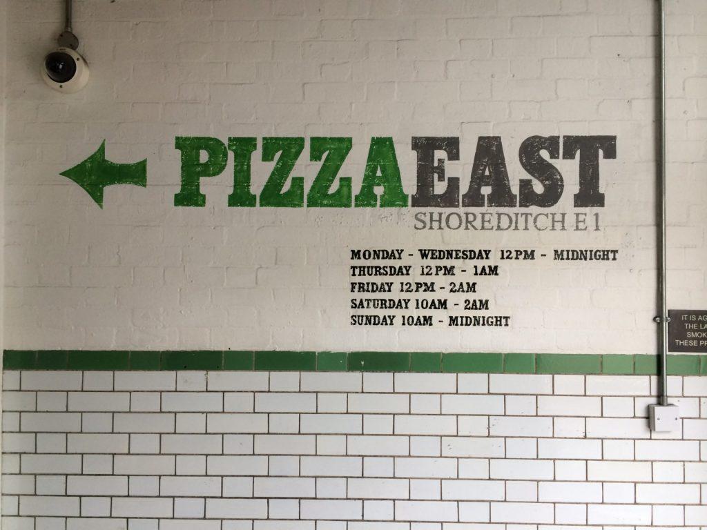 La bienvenida en el PizzaEast