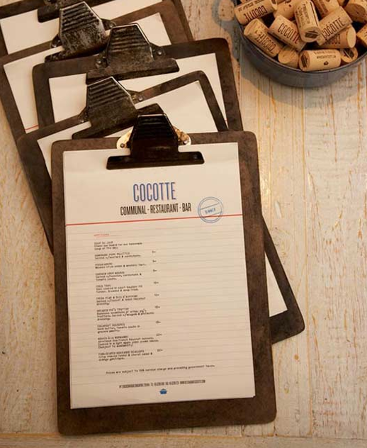 Cartas de Menú para Restaurantes. Cocotte French Restaurant